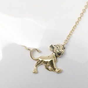 Disney Simba Pendant Necklace Gold Over Silver